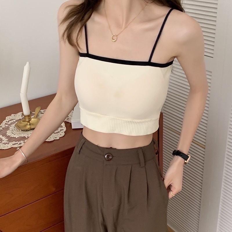 Mặc gì đẹp: Dẻo dai với [Mẫu mới] Áo bra cotton tăm gam màu pastel quyến rũ( có mút đệm ngực) - Áo 2 dây croptop tập gym, yoga