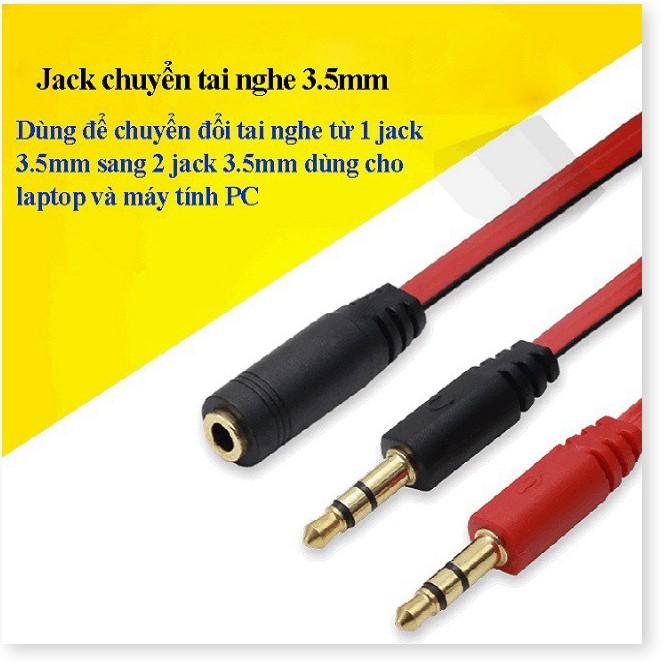 Jack chuyển đổi tai nghe 3.5 sang Audio & Mic dùng trên laptop máy tính, Cáp Chia 3.5mm