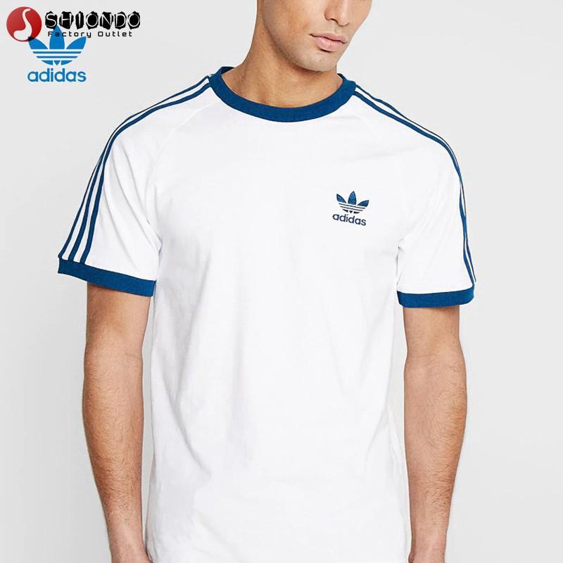 Áo thun nam ngắn tay họa tiết sọc ngang Adidas đơn giản