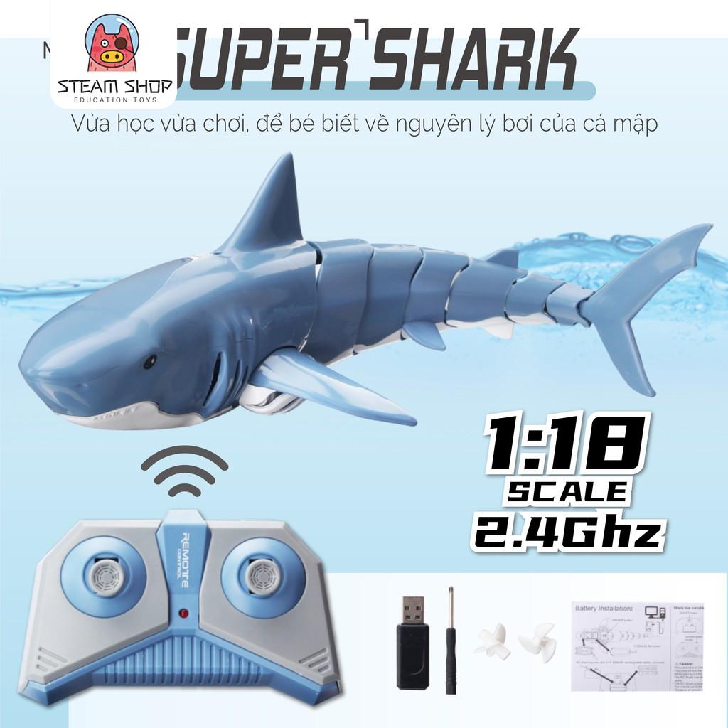 Đồ Chơi Điều Khiển Cá Mập Từ Xa Tần Số Sóng 2.4Ghz Tốc Độ Cao, Trục Đuôi Đa Khớp Góc Rộng