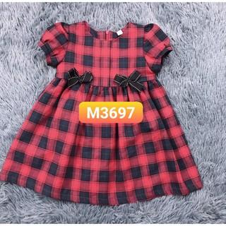 Combo váy kẻ đỏ to nơ đen - mã 3697
