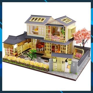 Mô hình nhà búp bê gỗ DIY Nhà búp bê lắp ghép có đèn Led Mẫu The Secrect History Toy World thumbnail