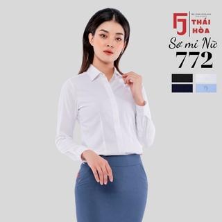 Áo sơ mi nữ cao cấp THÁI HÒA 772, áo sơ mi công sở nữ dài tay 4 màu, vải sợi tre co giãn mát lạnh thumbnail