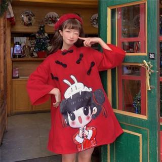 [ORDER TMALL 114 ] Váy Hoodie Đỏ Festival 2021