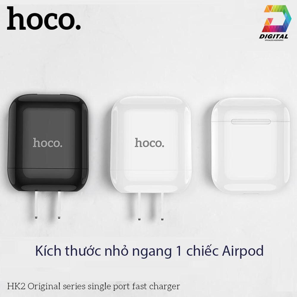 Cốc sạc Hoco HK2 chính hãng hỗ trợ dòng 3.4A chân sạc dẹt tiêu chuẩn Việt Nam