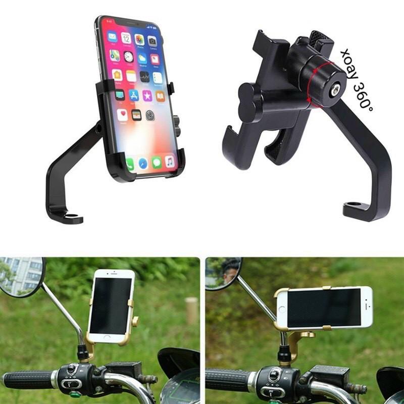 Giá đỡ, kẹp điện thoại trên xe máy C2, kẹp hợp kim chống rung, chống cướp