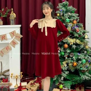 Váy bầu mùa đông nhung lì kết hợp lụa bóng cho bầu xinh đẹp đi chơi, diện tết - Đầm bầu dự tiệc thiết kế Medyla - VS382 thumbnail
