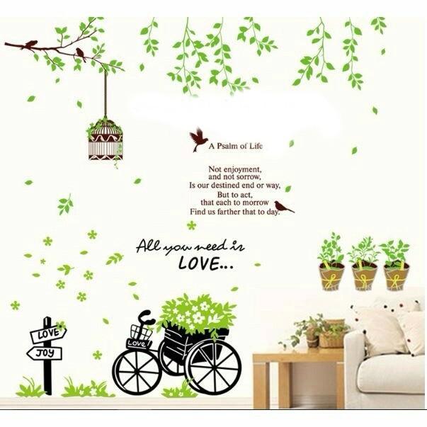 Decal dán tường combo xe hoa và chậu cây
