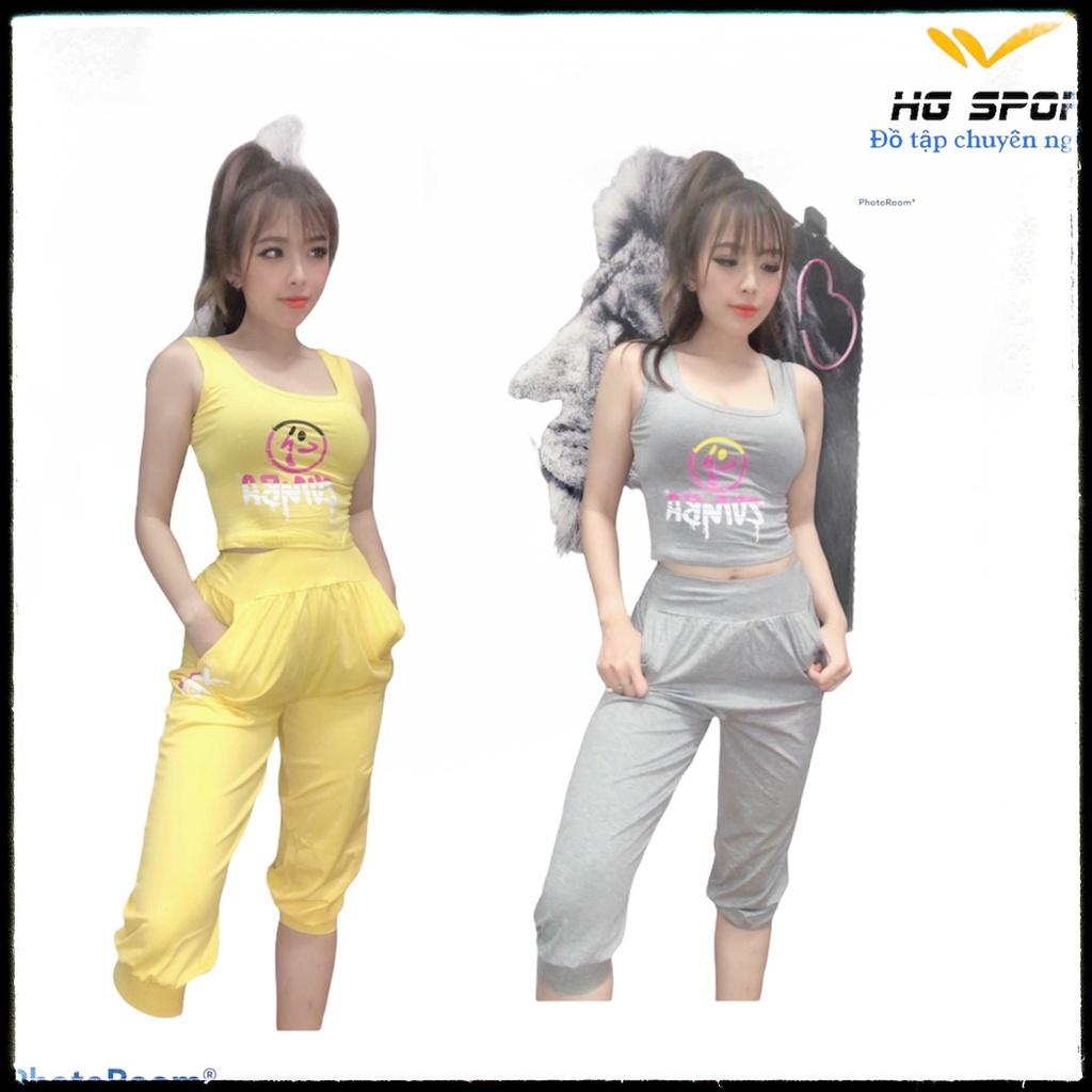 Mặc gì đẹp: Năng động với Bộ tập Zumba, Dance ,Bộ đồ tập quần lửng áo croptop Hg Sport BL05