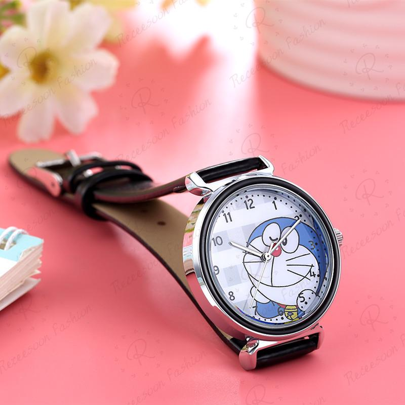 Đồng hồ thiết kế máy thạch anh có dây bằng da họa tiết Doraemon