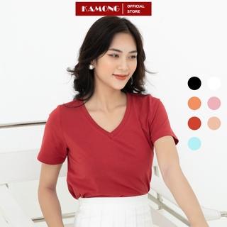 Áo thun nữ cổ tim tay ngắn KAMONG vải cotton 100% cao cấp thumbnail