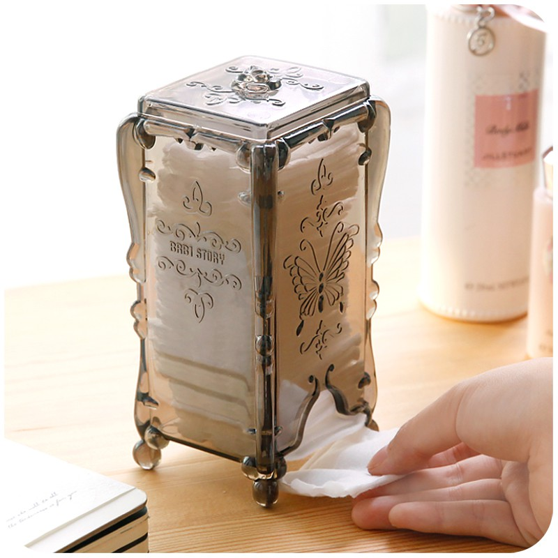 Silent love ● ● cotton pad storage box transparent cute plastic cotton swab desktop cosmetics dressing table lipstick bo