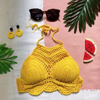 Áo bơi len móc đi biển màu vàng đan tay thủ công siêu đẹp thumbnail