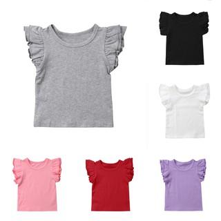 Áo tay cánh tiên , vải cotton , màu trơn cho bé gái