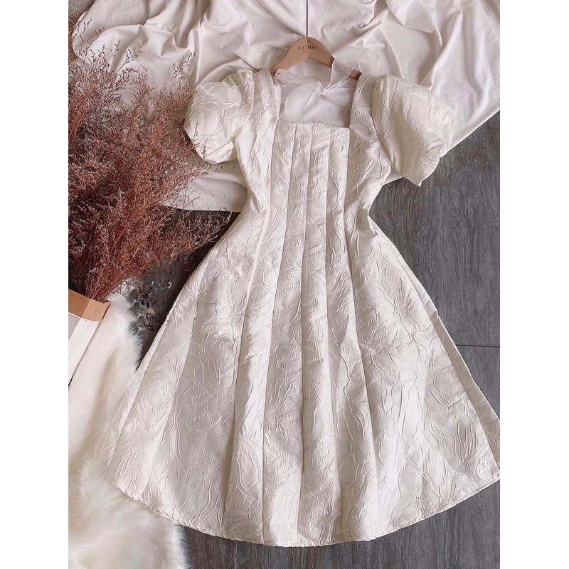 Đầm tay bồng gấm nơ lưng 2 màu