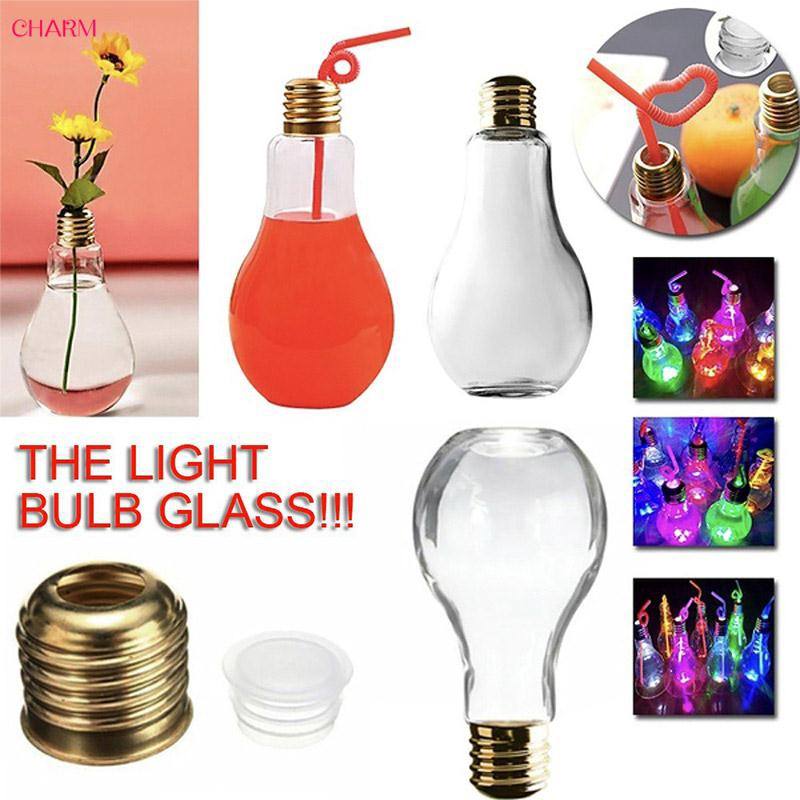 CHARM with Light Coffee Mugs Luminous Water Bottle 400ml/500ml Bulb Drink Bottles Plastic Milk Travel Mug
