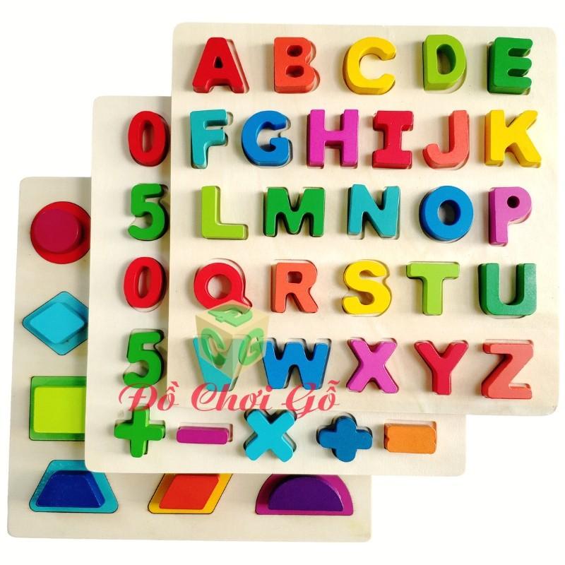 COMBO 3 bảng hình học, số, chữ cái gỗ nổi Vivitoys. Đồ chơi gỗ giáo dục