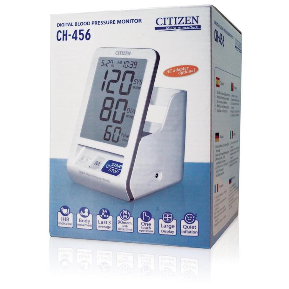 [CHÍNH HÃNG] Máy đo huyết áp điện tử bắp tay Citizen CH456 Nhật Bản