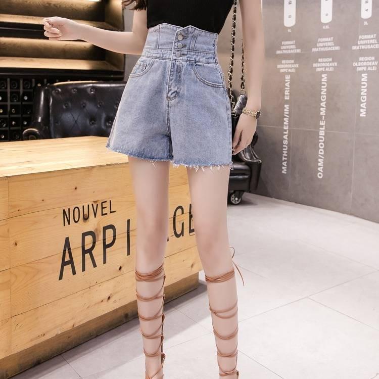 กางเกงยีนส์ของผู้หญิงกางเกงขาสั้นผ้ายีนส์สุดหลวมกางเกงขากว้างบางของผู้หญิงแฟชั่นฮอลโลว์กางเกงร้อนน้ำ(s-xxxl)