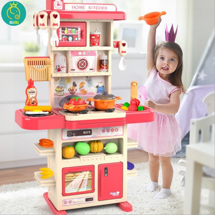 Đồ chơi nấu ăn cao cấp ⚡HÀNG CHUẨN-FREESHIP⚡ bộ đồ chơi nhà bếp có hiệu ứng âm thanh lửa, khói, bồn nước thật cho bé