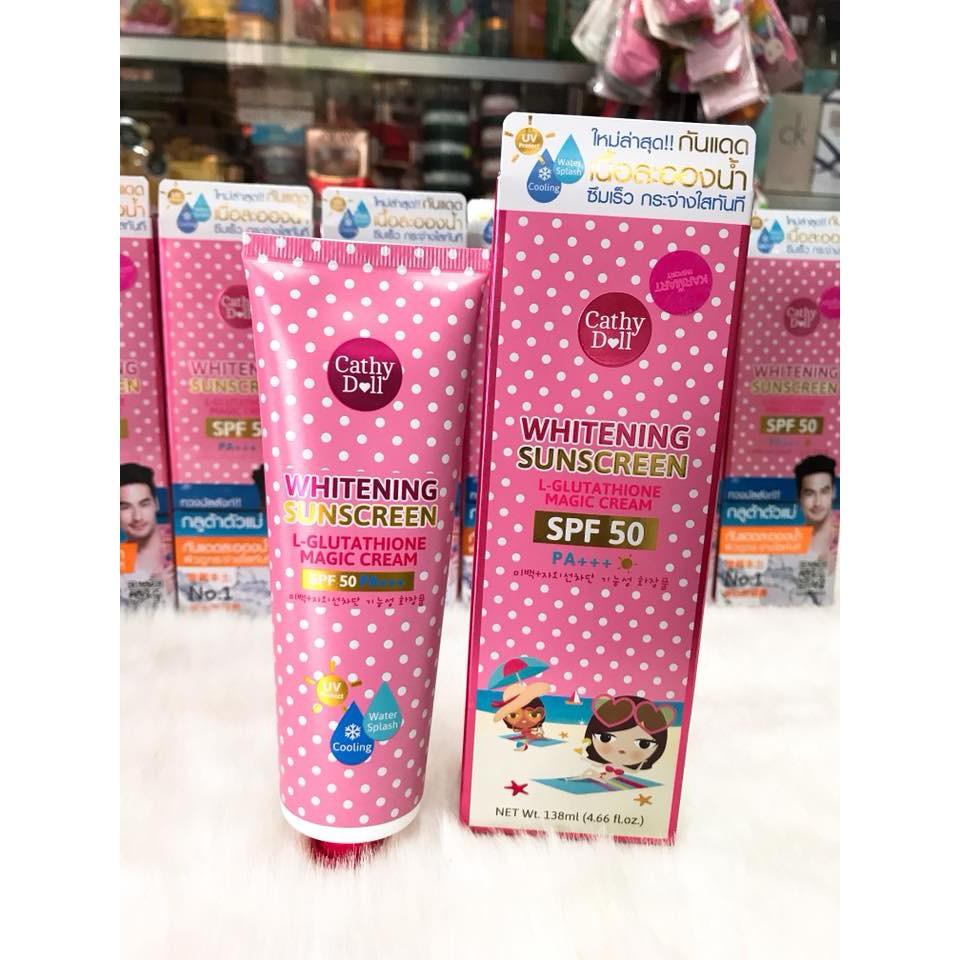 Kem chống nắng dưỡng trắng da Cathy Doll L - Glutathione Magic Cream SPF50 PA+++ Thái Lan