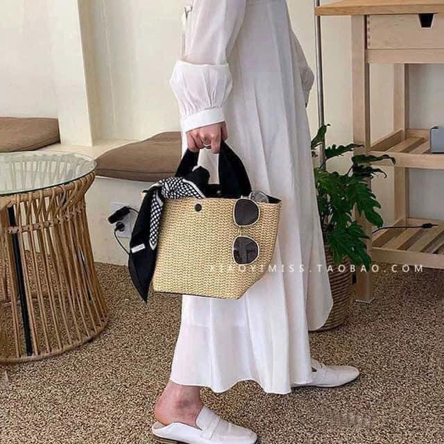 Túi Cói Cầm Tay Bản To FREESHIPTúi đeo vai GaLiCiCi bằng vải rơm dệt thời trang đi biển cho nữ