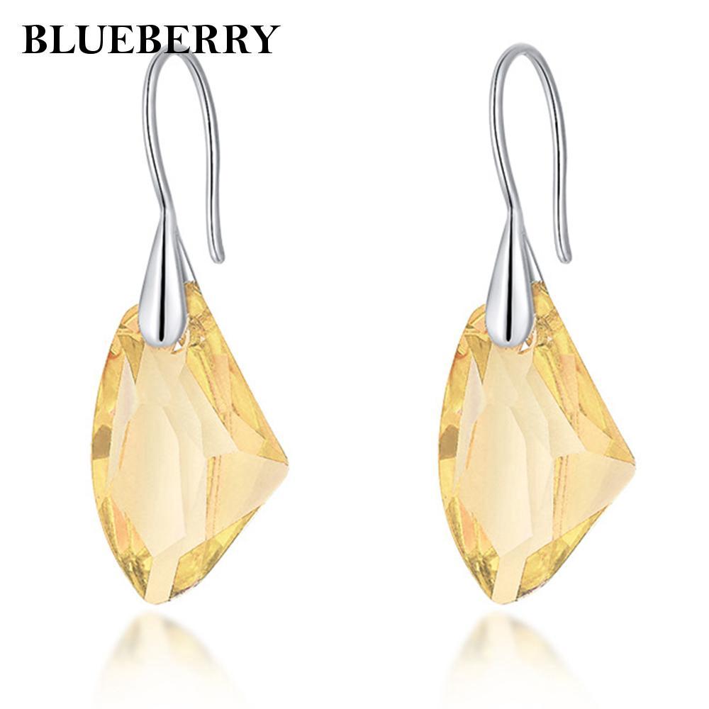 Earrings Jewelry Elegant Aqua Blue Crystal Drop Silver Women  Diamond Stylish