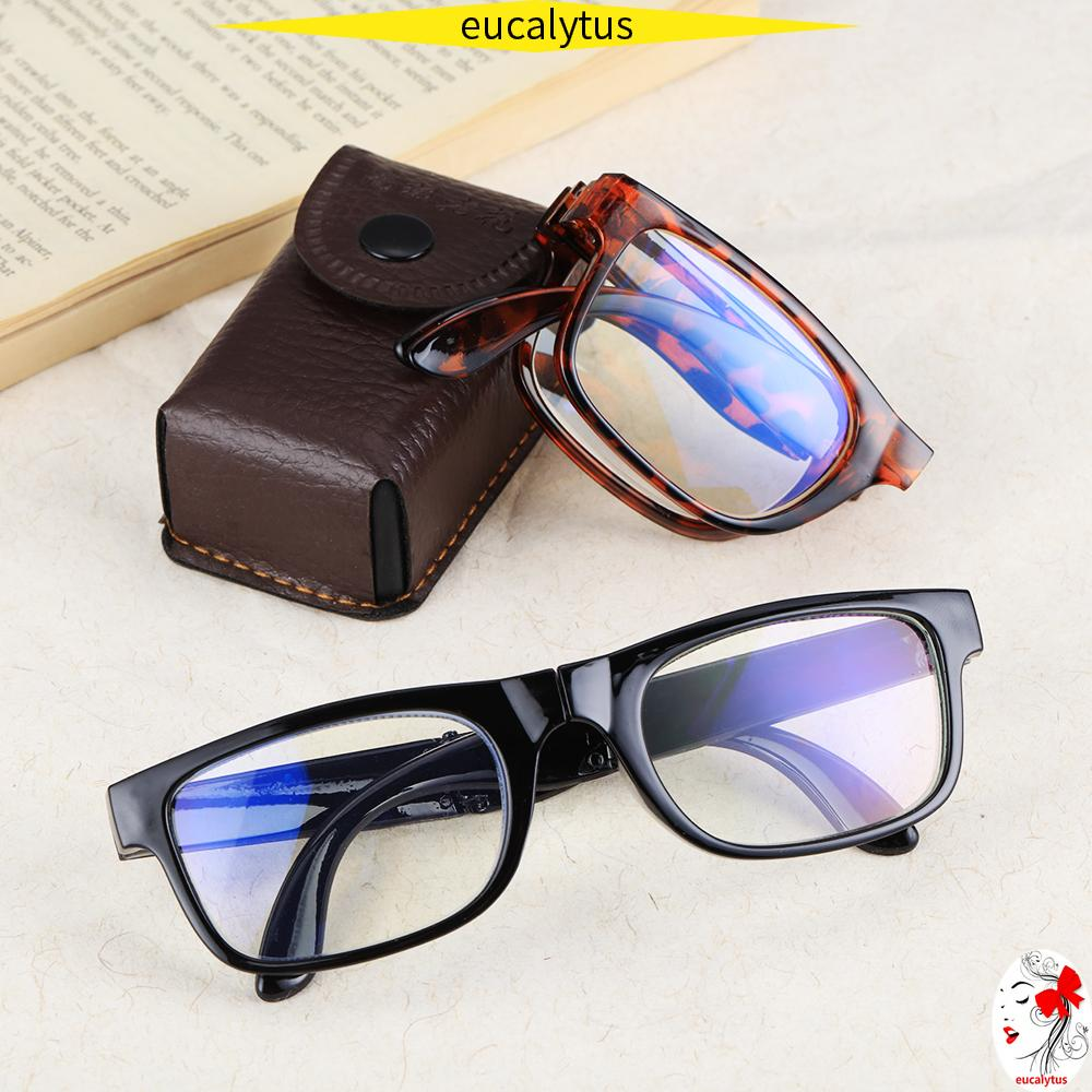 🌸EUTUS🌸 Unisex Folding Reading Glasses Portable Compact Reading Glasses Presbyopic Glasses Vision Care Anti Blue Light Diopter +1.0~4.0 Eyewear with Glasses Case TR90 Reading Glasses/Multicolor