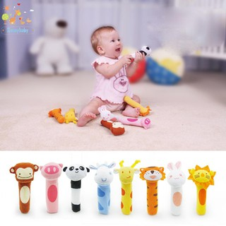 Baby Colorful Cute Animal Head IQ Development Handled Cloth Toy