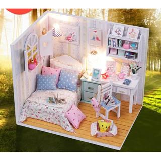 Mô hình đồ chơi nhà búp bê DIY – Phòng ngủ, có bàn học (TDMW072)