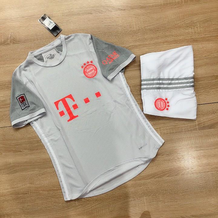 Quần Áo Đá Banh  FREESHIP  Áo Đá Bóng Bayern Munich 2021 Xám Trắng Vải Gai Thái PP bởi Be Happy Sport