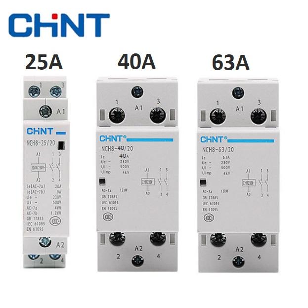 Khởi động từ 1 pha 220V CHINT NCH8 25A 40A 63A công tắc tơ contactor