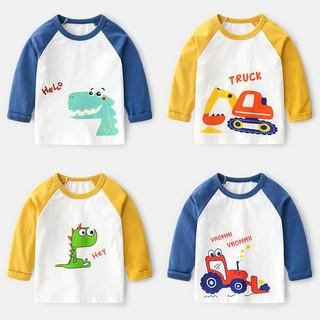 Áo thun dài tay cho bé trai TrueKids, áo tay dài cho bé trai họa tiết khủng long (Hàng Xuất Châu Âu)