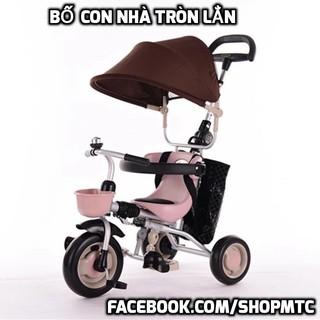 Xe đạp 3 bánh sang chảnh chính hãng gấp gọn được có mái che và tay đẩy cho các bé nhỏ