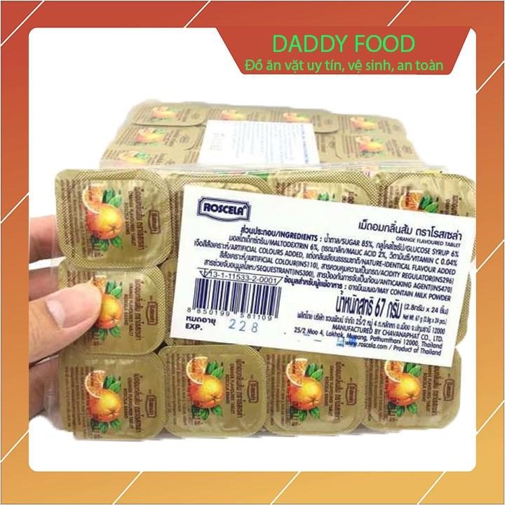 Kẹo vitamin C Thái Lan vị cam dạng viên ngậm cho bé vỉ 24 hộp