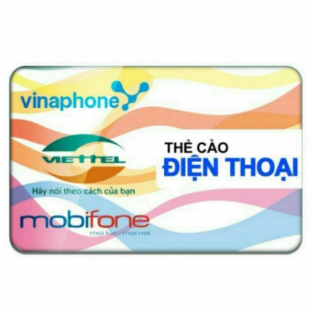 Thẻ cào Dt tất cả các mạng 10k-100k ( Viettel, Mobi, Vina)
