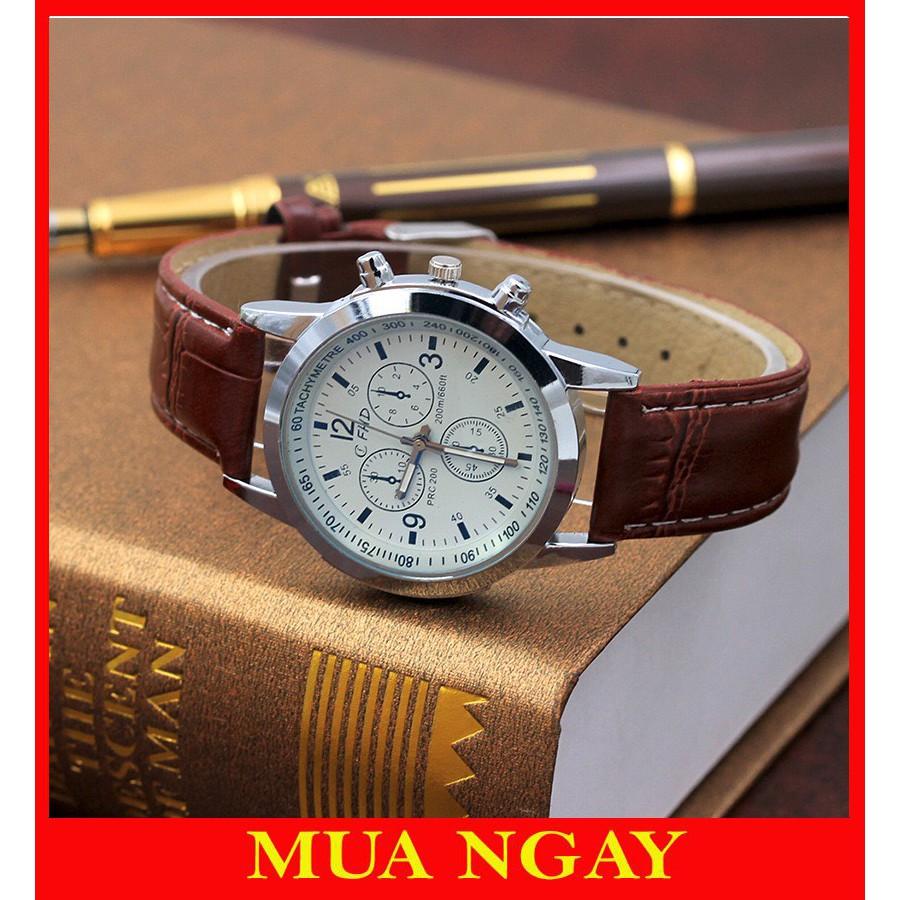 Đồng hồ đeo tay nam dây da CFHD lịch lãm Siêu đẹp DH101