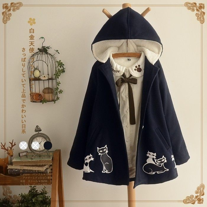 Áo khoác,Áo chuàng nữ, dáng dài, dày dặn, lót bông, họa tiết in hoa, chất liệu dạ, phong cách Nhật Bản, phong cách học s