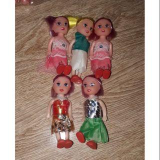 Set 5 búp bê khớp mini bằng nhựa có kích thước cao 10cm