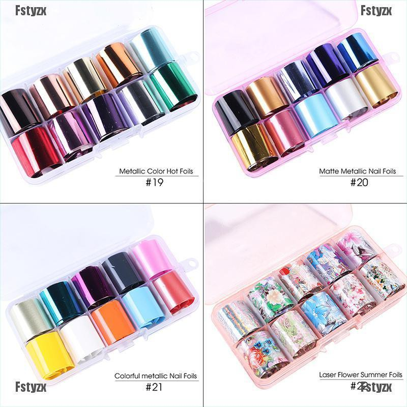 Fstyzx 10Pcs Holographic Nail Foil Flower Starry Sky Manicure Stickers Decals Pro Kit