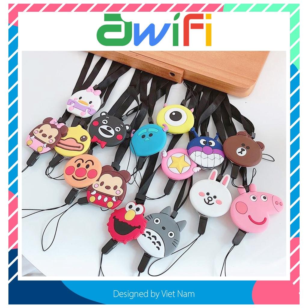 Dây đeo điện thoại, đeo thẻ hình thú ( 20 mẫu ) dây vải dẹt - Awifi Case H3-5