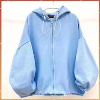 1hitshop Áo khoác zip trơn nỉ nữ có dây kéo như hình, áo khoác zip tay phồng dây kéo như hình