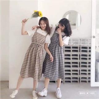 [không áo ]Váy yếm karo A1