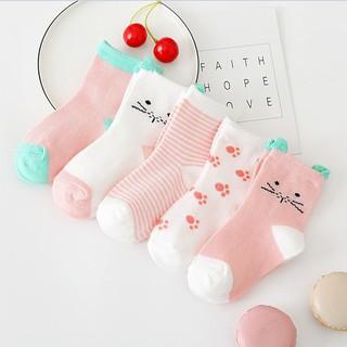 Bộ 5 đôi vớ cotton phù hợp với chiều dài bàn chân 7-16cm mềm mại không phai màu họa tiết dễ thương cho bé 0-7T