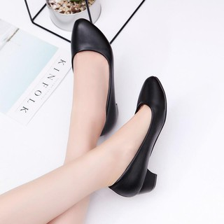 Giày cao gót nữ da lì cao 4cm - 6322