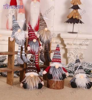 *New* Christmas stripe hat invisible dwarf Santa doll pendant Nordic dwarf Doll Christmas tree ornament doll decoration IVY
