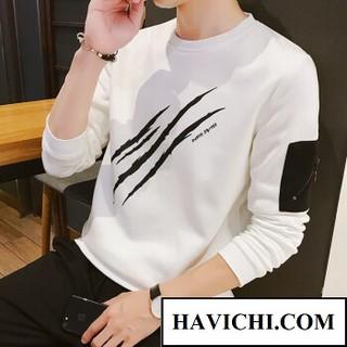 Áo thun nam dài tay trắng 3 gạch móc khóa phong cách, thoáng mát, mềm mịn