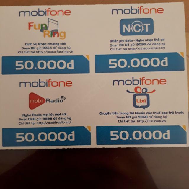 Combo 2 thẻ 50k nhà mạng mobifone chiết khấu 4%