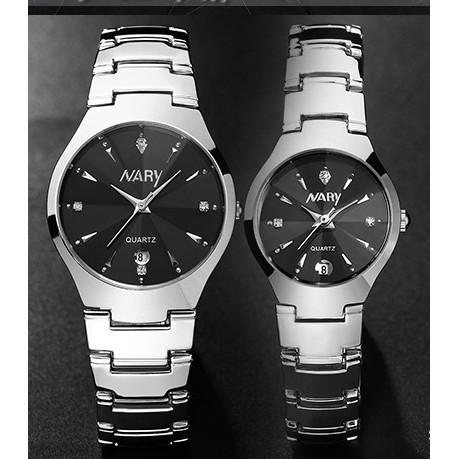 Đồng hồ nữ nam Nary dây thép chống nước SP256
