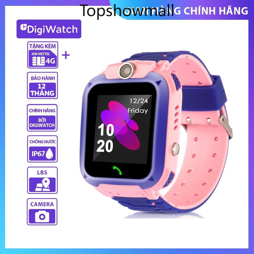 [Topshowmall]  Đồng hồ định vị trẻ em Digiwatch Q12 Nghe gọi 2 chiều   Camera chụp hình   Chống nước IP67